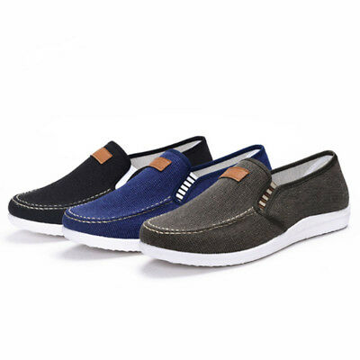 Summer Men's Canvas Slip On Driving Loafers Shoes Boat Casual Breathable Shoes