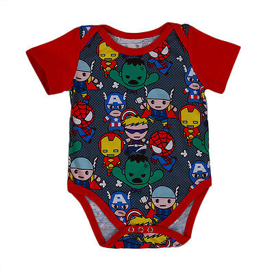 Newborn Infant Baby Boy Romper Bodysuit Jumpsuit SuperHeros Print Clothes Outfit