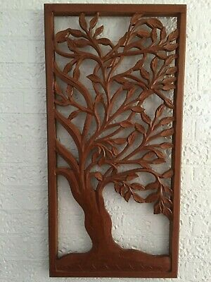 90 CM Tall Rustic Brown Wood Carved Distressed Tree of Life Wall Art Hanging