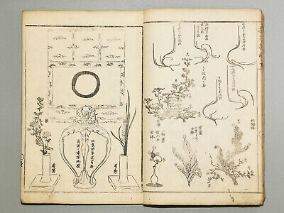 Japanese flower arrangement Ikebana kado Meiji era Antique woodblock print book