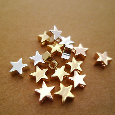 15pcs DAINTY (Real) Gold Silver & Rose Gold Star Beads Charms Top Hole 6x3mm