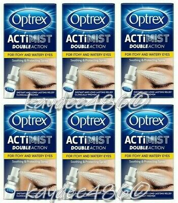 6 x Optrex 10ml Actimist Double Action Spray Itchy & Watery Eyes (60ml) Mar 2022