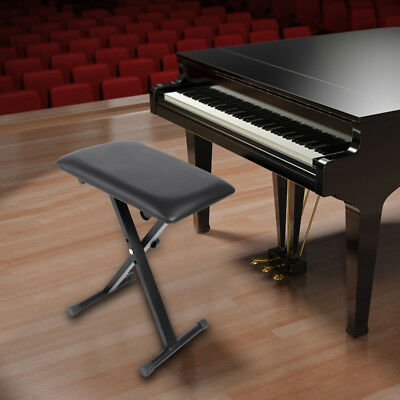 Adjustable Piano Keyboard Bench Comfortable Padded Seat Folding Stool Chair New
