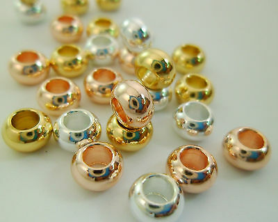 30pcs Dainty Gold, Silver & Rose Gold Rondelle Beads Spacers Tarnish-resistant