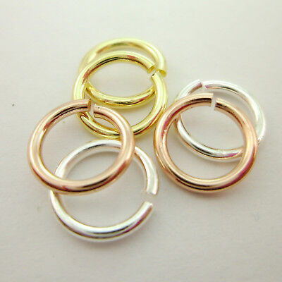 30pcs 9mm Genuine 14K Gold, Silver and Rose Gold Medium Thick Bold Jump Rings