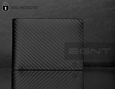 EGNT ID + Coin Carbon Wallet RFID BLACK GENUINE LEATHER LUXURY SLIM MENS BIFOLD