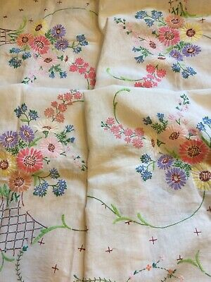 Vintage Hand Embroidered Tablecloth Floral