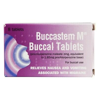 Buccastem M 3mg Buccal Anti sickness 8 Tablets Prochlorperazine For Migraines