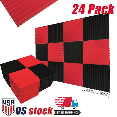 "24 Pack Acoustic Foam Panel Wedge Studio Soundproofing Foam Tiles 12"" Red Black"