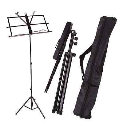 Musician's Portable Adjustable Folding Music Stand with Carrying Bag Black