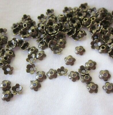 100 Antique Bronze Coloured 6mm Flower Bead Caps #bc431 Jewellery Making Craft