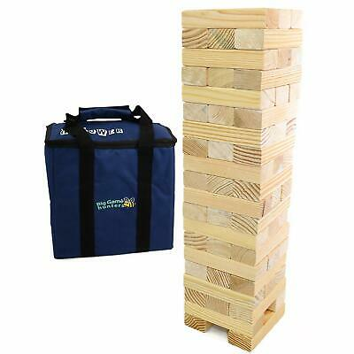 Giant Jenga Stacking Tumble Tower Garden Game 1.5M 58 Wooden Blocks Carry Bag