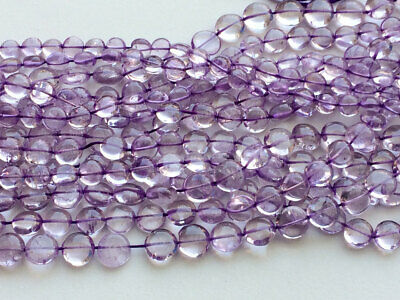 "15"" Amethyst Plain Dish Coin Beads, 34 Pieces Natural Amethyst Coins, 10-11mm"