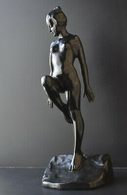 Original art deco spelter sculpture of a nude female nymph girl