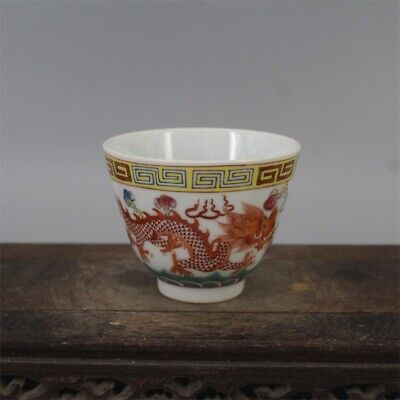 "3"" Chinese old Porcelain Qing guangxu mark famille rose dragon Phoenix teacup"