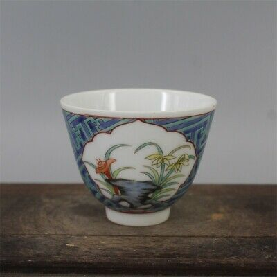 "3"" Chinese antique Porcelain Qing tongzhi mark Hand painting flower teacup"