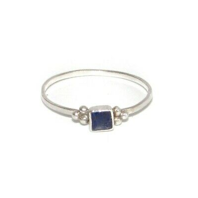 Delicate Lapis Lazuli Sterling Silver Ring sz 6.5 Dainty Light Weight Ring 925