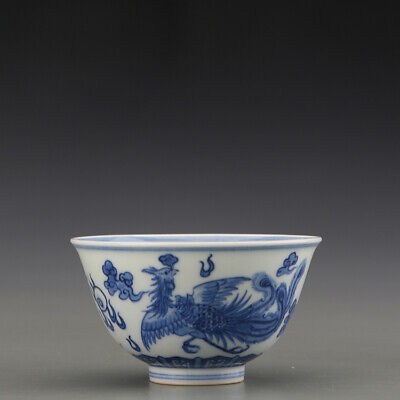 "3"" Chinese antique Porcelain Qing Dynasty blue white dragon Phoenix teacup"