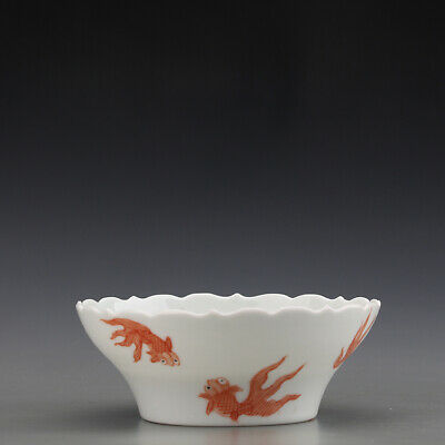 """4"""" Chinese antique Porcelain Ming chenghua mark white glaze red fish teacup bowl"""