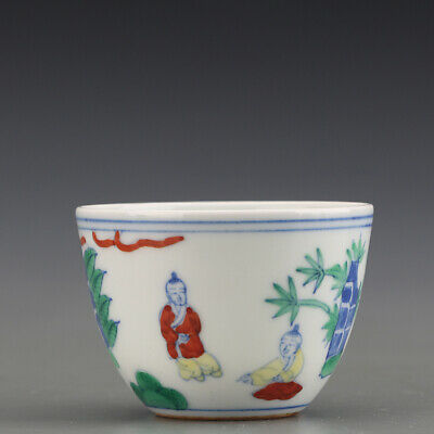 "2"" Chinese antique Porcelain Ming chenghua mark doucai Children teacup bowl"