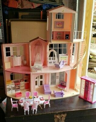 Barbie three-story, foldable dream house with furniture & other extras, Vintage
