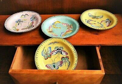 Vintage CHINESE ENAMEL on Copper 4 BUTTERFLY DishesHand Painted Trinket Trays