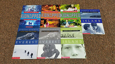 GORDON KORMAN 8 adventure books RL4 SERIES: ISLAND, EVEREST ,KIDNAPPED