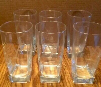 "Etched Monogrammed Y Clear Drinking Glasses Tumblers Square Bottom 6"" L Set Of 6"