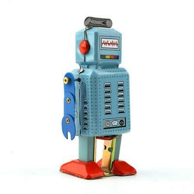Tin Plate Mechanical Clockwork Wind Up Metal Walking Robot Tin Toy Kids Gift BR