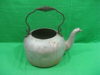 Vintage Antique Primitive Metal Aluminum Hot Water Kettle with Metal Iron Handle