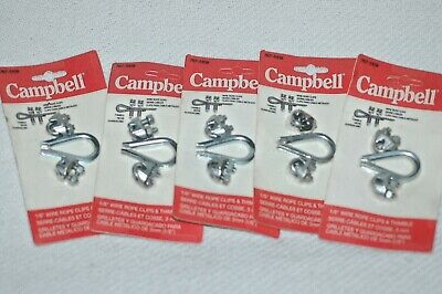 "(5) Five  Campbell 767-5109  1/8"" Wire Rope Clips With Thimbles New Old Stock."