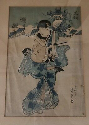 Antique Japanese Woodblock Print Edo period Geisha Kimono Fabric Circa 1800