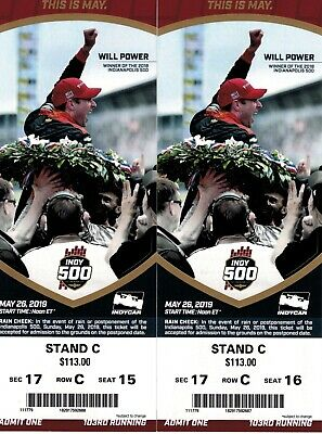 2 INDY 500 Tickets 2019 FRONT ROW AISLE - ACROSS FROM THE PITS - LEG ROOM!