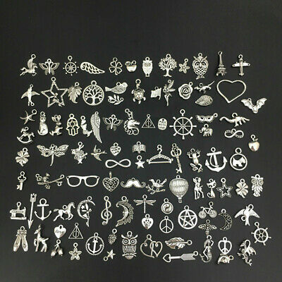 100pcs Jewelry Making Charms Tibetan Metal Pendants for DIYJewelry Making