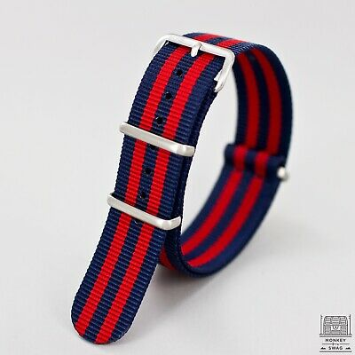MKS © Regimental Blue & Red Nylon Nato Watch Strap
