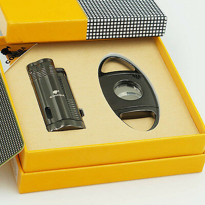 COHIBA Cigar Lighter Cutter  Set 3 Torch Jet Flame With Punch Black Chrome