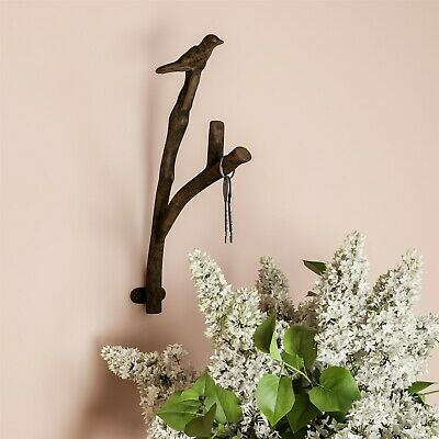 Cast Iron Rustic Metal Bird and Tree Branch Hook for Wall Decor Anchor Screws