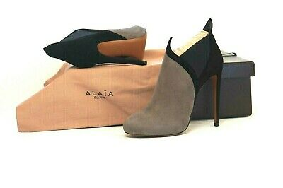 68808738f905c NEW ALAIA Black Grey Suede Ankle Boots Booties Size 37 EU/ 6.5 $1470.00 w/