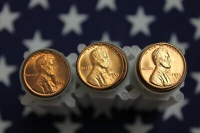 1955, 1955-D, 1955-S Brilliant Uncirculated Lincoln Wheat Cents - Nice BU Rolls