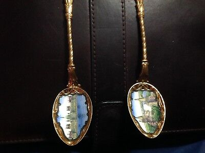 Pair of  GOLD PLATE with ENAMEL BOWL SOUVENIR SPOONS BUDAPEST Hungary Vintage