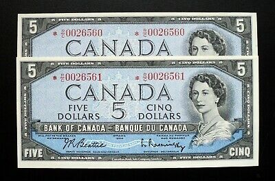 1954 BANK OF CANADA $5 Consecutive Pair Replacement Note *R/C 0026560-61 BC-39bA