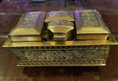 Antique Vintage Brass Engraved Betel Nut Box - Jewel Case