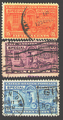 US. E15, E16 & E17. Special Delivery Stamp. Set of 3. Used.