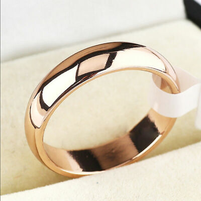 Men Women 6mm Band Ring Wedding Polished Stainless Steel Rings Jewelry