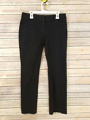 ec45ccc082 Theory Womens Straight Leg Pants Trousers Black Cotton Blend Career Mid  Rise 4