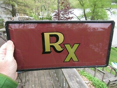 ANTIQUE EARLY 1900's REVERSE PAINTED GLASS RX PHARMACY SIGN WITH BEVEL EDGES