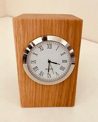 Brand New Handcrafted Small Solid Oak Quartz Mantle Clock Ideal Gift
