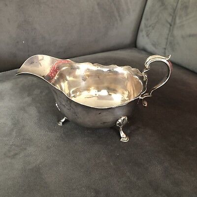 T.J.&P. Sterling Silver Footed Gravy Sauce Boat 1930, Birmingham England 520