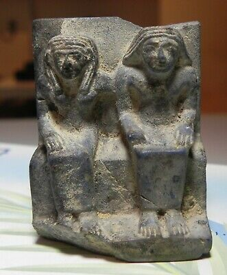 ZURQIEH -as12646- ANCIENT EGYPT, LAPIS LAZULI FIGURE OF A MAN & WIFE. 1400 B.C