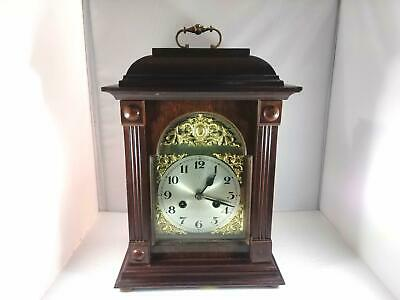Stunning Mahogany German Bracket Clock Brass Handle Fully Serviced & Working